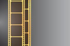 Background with golden film strip. Cinema concept vector illustr. Cinema concept vector illustration. Background with golden film strip Stock Images