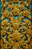 Background with golden flowers and blue mosaic Royalty Free Stock Photography