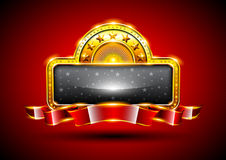 Background with golden frame. Golden frame with red ribbon and place for text Stock Photography
