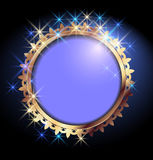 Background with golden frame. Background with golden ornament and round frame Stock Image