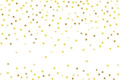 Background with Golden glitter, confetti. Gold polka dots, circles, round. Typographic design. Bright festive, festival pattern. For party invites, wedding Stock Image