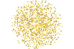 Background with Golden glitter, confetti. Gold polka dots, circles, round.  Typographic design. Bright festive, festival pattern. Background with Golden glitter Royalty Free Stock Photography