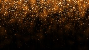 Background with golden glitter falling particles. Beautiful holiday background template for premium design. Falling gold particle