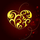 Background with golden heart. By valentine's day Stock Photos