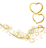 Background with golden hearts Stock Photo