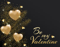 Background with golden hearts Stock Image