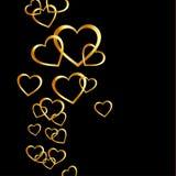 Background with golden hearts. Against black Vector Illustration