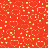 Background with golden hearts and stars. Valentine's day red abstract background with golden hearts and stars. Seamless pattern. Vector illustration Vector Illustration