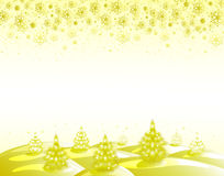 The background golden landscape with Christmas trees and snowflakes. EPS10  illustration Royalty Free Stock Photos