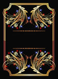 Background with golden ornament. And stars royalty free illustration