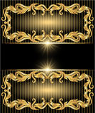 Background with golden ornament. And stars vector illustration