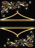 Background with golden ornament. And sparkling lights vector illustration