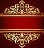 Background with golden ornament and red band. Illustration background with golden ornament and red band royalty free illustration
