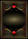 Background with golden ornament. And red rose royalty free illustration