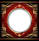 Background with golden ornament. And round frame royalty free illustration