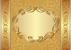 Background. Golden background with ornamental frame Stock Images