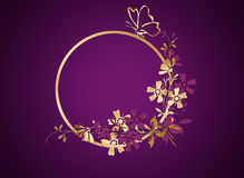Background with golden and pink flowers . Golden , pink flowers and butterfly in circle Royalty Free Stock Image