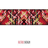 Background with golden red black art deco outline style design. Stock Image