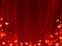 Background with golden and red hearts. Golden red hearts over red background like curtain Royalty Free Stock Photos