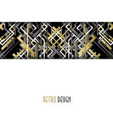 Background with golden silver black art deco outline style design. Stock Image