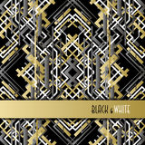 Background with golden silver black art deco outline style design. Stock Photos