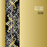 Background with golden silver black art deco outline style design. Royalty Free Stock Images