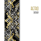 Background with golden silver black art deco outline style design. Stock Images