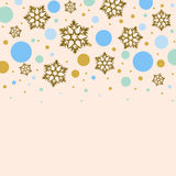 Background with golden snowflakes and colorful circles Royalty Free Stock Image
