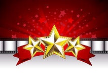 Background with Golden Stars. On the Red Banner and Film Stripe Stock Images