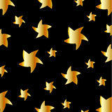 Background with golden stars. On black royalty free illustration