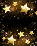Background with golden stars. Black background decorated with texture and golden stars vector illustration