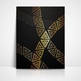 Background with golden triangles. brochure template Stock Photography