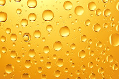 Background of golden water big and small drops. On glass Stock Images