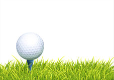 Background With Golf Ball. Vector Realistic Background With White Golf Ball And BlueTee In The Green Grass. Close Up View Royalty Free Stock Photo