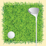 Background golf course. Putter and golf ball on grass. Vector illustration Stock Photo