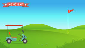 Background of golf field. Beautiful landscape,Golf hole banner vector green tree background illustration with golf cart flag and trees Stock Photo