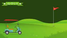 Background of golf field. Beautiful landscape,Golf hole banner vector green tree background illustration with golf cart flag and trees Stock Images