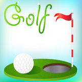 Background golfing ball in the grass and the flag Stock Photo