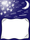 Background good night pillow. With moon, stars and some z from zzzzzzz Stock Images
