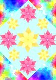 Background with gouache pattern in corners and flowers Stock Images