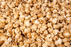 Background from grains of popcorn. Close up stock photo