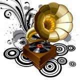 Background with a gramophone. Raster version of vector background with a gramophone Stock Images
