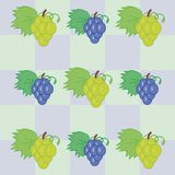 Background with grape. Ornament with grape and checks Royalty Free Stock Photo
