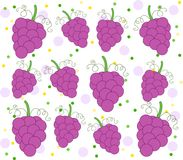 Background with grape pattern and dots. Cute background with grapes and dots. Clean design of seamless grape pattern Royalty Free Stock Photo