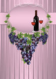 Background with grapes and wine bottle Royalty Free Stock Photography