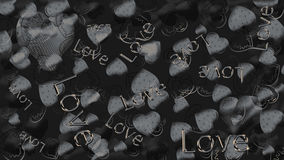 Background of graphite color with hearts and word love. Backdrop Royalty Free Stock Image