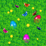 Background with grass, easter eggs, flowers and butterflies Stock Images