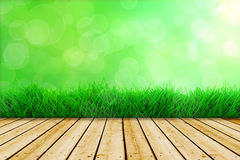 Background with grass and wooden floor Royalty Free Stock Photos