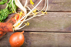 Background from gray boards and dirty vegetables at the left Royalty Free Stock Photo