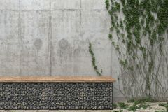 Background with a gray concrete wall with ivy and a bench of stones. Front view with copy space. 3D rendering. vector illustration